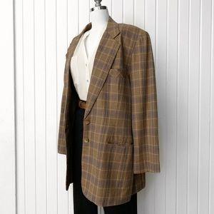 Vintage Plaid Brown Oversized Blazer Jacket